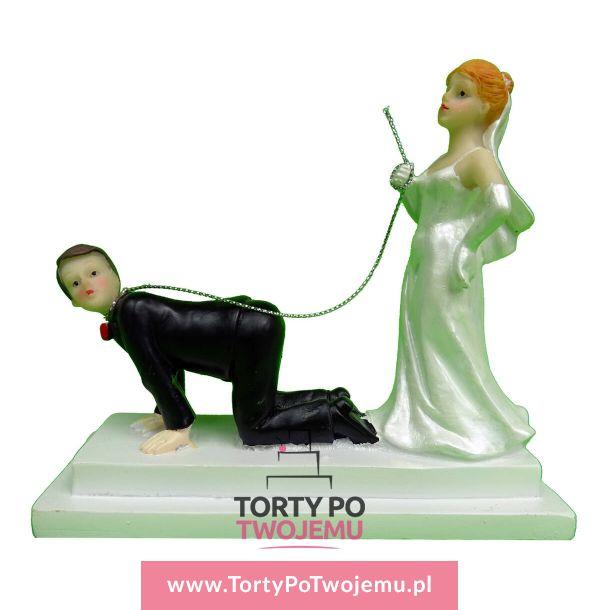 Figurka weselna Pan Młody na smyczy