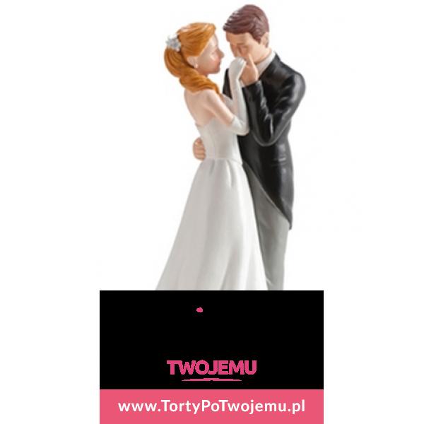 Figurka weselna Para Młoda uścisk